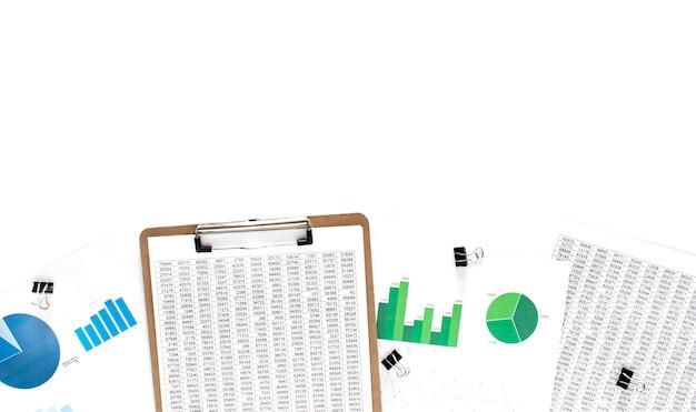 Bedrijfsconcept. financiële documentatie, groen en blauw diagram op de witte achtergrond