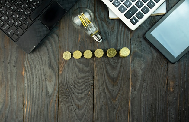 Bedrijfsconcept. idee bedrijfsconcept. herstel en bedrijfsgroei. kopieer ruimte. plat liggen.