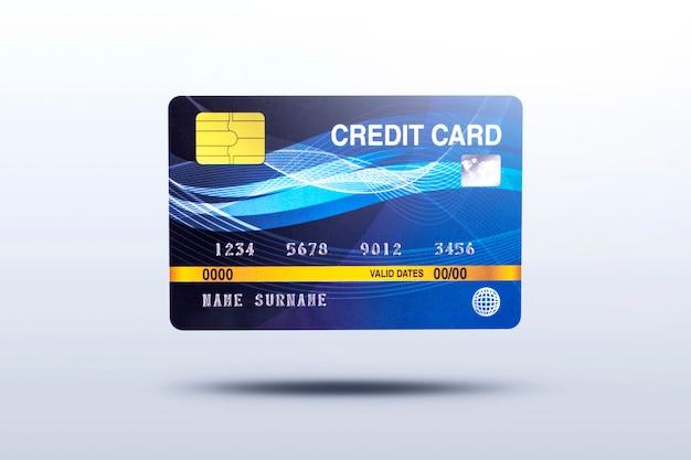 Bedrijfscreditcard die op grijze achtergrond met schaduw wordt geïsoleerd
