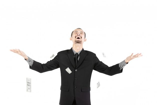 Bedrijfsdiemens met geld op wit wordt geïsoleerd