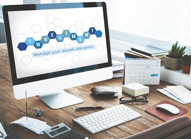 Bedrijfseconomie financiële transactie investering afbeelding op computer