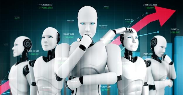 Bedrijfsgroei concept met behulp van ai-robot en machine learning-technologie