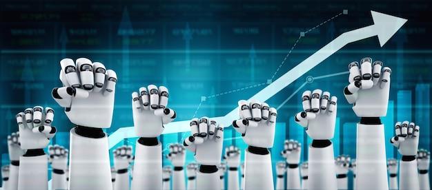 Bedrijfsgroeiconcept door ai-robot en machine learning-technologie te gebruiken