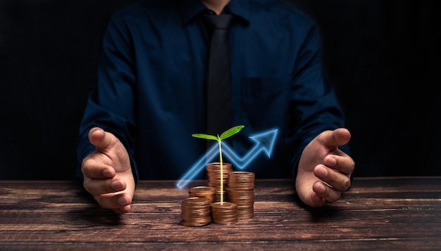Bedrijfsgroeivooruitgang of succesconcept investeren in handelsillustratie