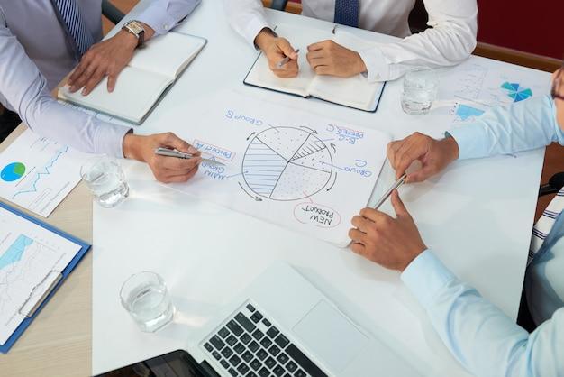 Bedrijfsleiders die vergadering hebben