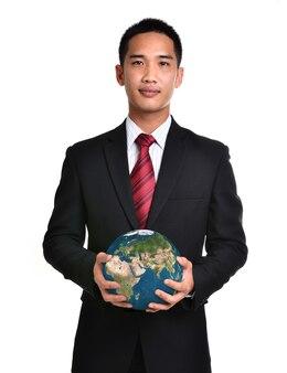 Bedrijfsman houdt de aarde vast