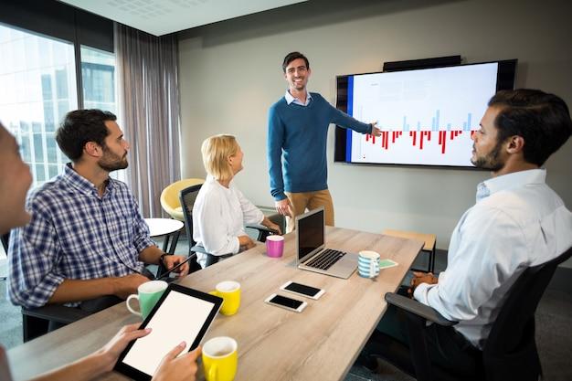 Bedrijfsmensen die over grafiek tijdens een vergadering bespreken