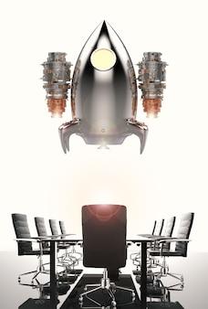 Bedrijfsopstartconcept met 3d-rendering space shuttle-lancering boven vergadertafel
