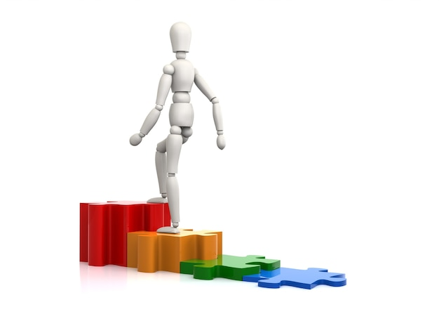 Bedrijfspersoon klimt stappen naar oplossingsdoel puzzelstukje
