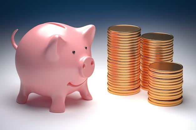 Bedrijfsrijkdommetafoor - roze spaarvarken en gouden muntstukken 3d illustratie
