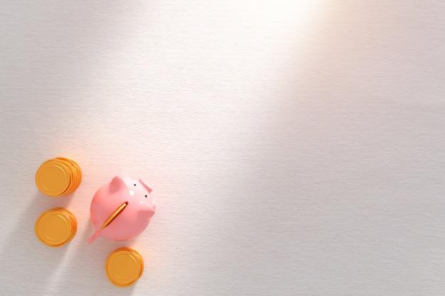 Bedrijfssuccesmetafoor - het roze gouden geïsoleerde muntstuk van het spaarvarken witn