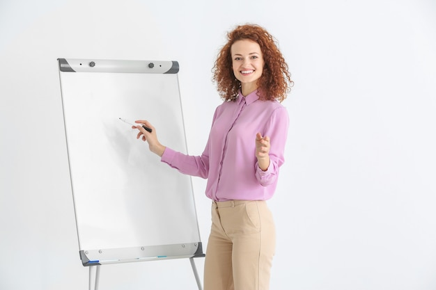 Bedrijfstrainer die presentatie geeft op whiteboard