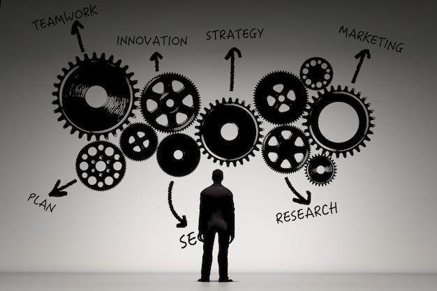 Bedrijfsvisieconcept met zakenman die businessplan schrijft