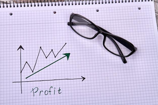 Bedrijfswinstgroei concept met bril op een notitieblok en zakelijke grafieken