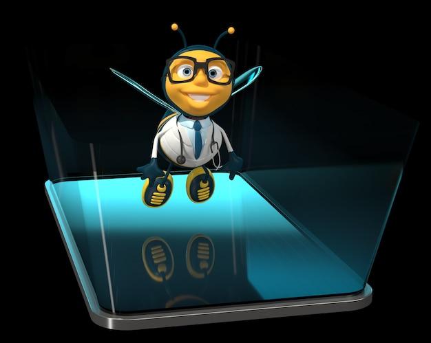 Bee op een telefoon - 3d illustratie