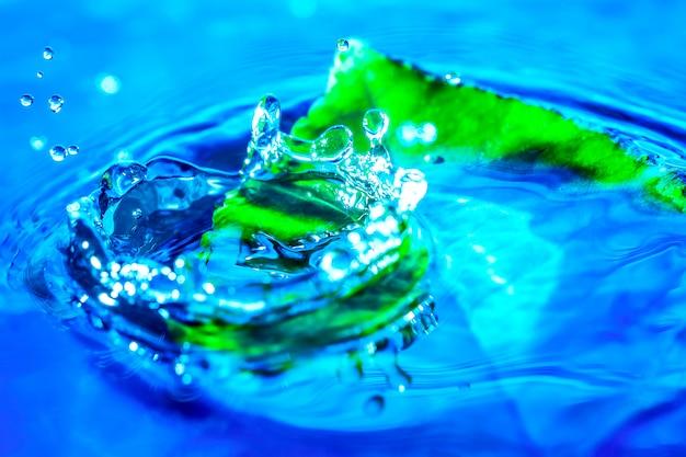 Beeld van de plons van de waterdaling dichtbij het groene blad in water.