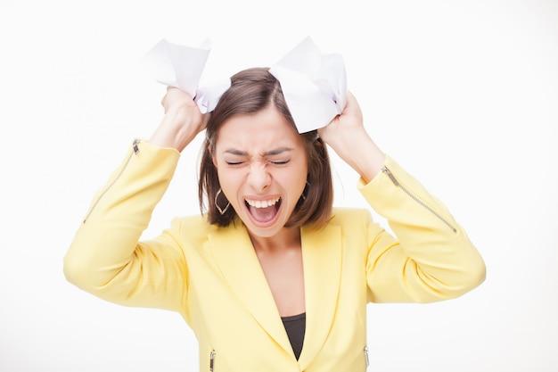 Beeld van een bedrijfsvrouw in spanning