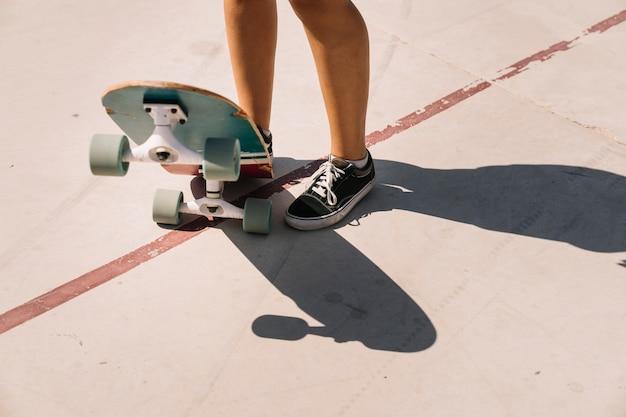 Been oog van schaatser meisje