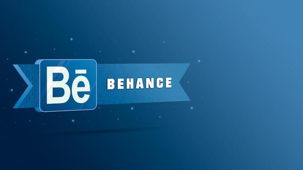Behance-logo met de inscriptie op de technologische plaat 3d