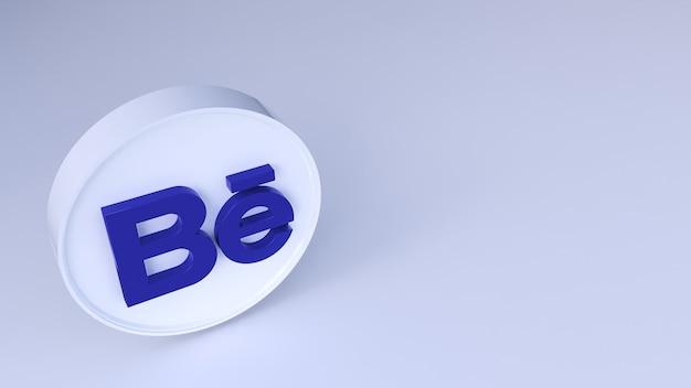 Behance-logo minimaal eenvoudig ontwerp. kopieer ruimte 3d-rendering