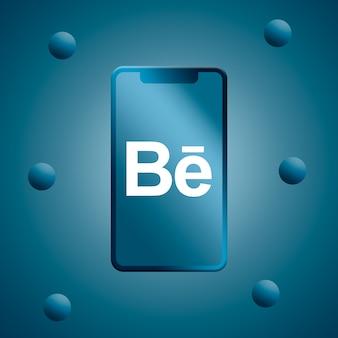 Behance-logo op het telefoonscherm 3d render