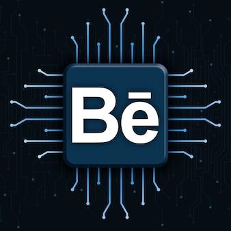 Behance-logo op realistische cpu-technologieachtergrond 3d