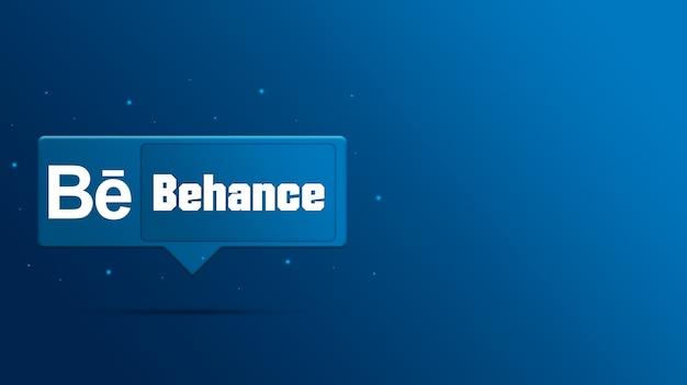 Behance logo op tekstballon 3d render