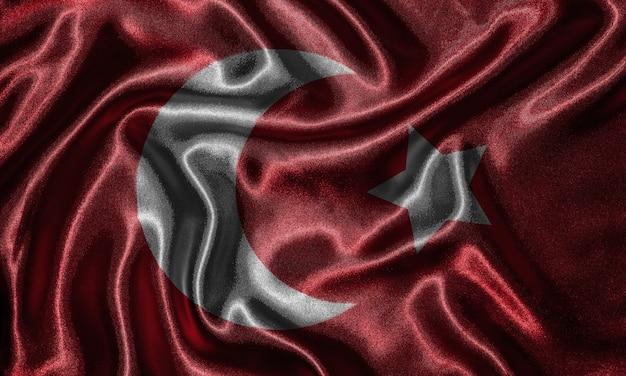 Behang door de vlag van turkije en zwaaiende vlag door stof