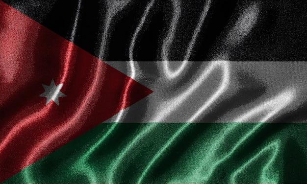 Behang door jordanië vlag en zwaaien vlag door stof
