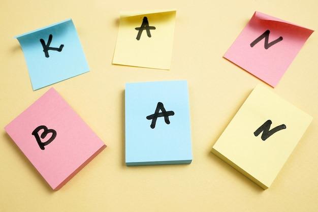 Behendig bord met papieren taak, concept, close-up