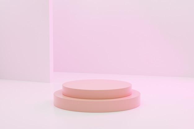 Beige cilindervormig podium of voetstuk voor producten op pastel roze achtergrond, minimale 3d illustratie render