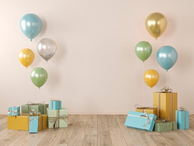 Beige, gele blinde muur, kleurrijk interieur met cadeaus, cadeautjes, ballonnen voor feest, verjaardag, evenementen. 3d render illustratie, mockup.