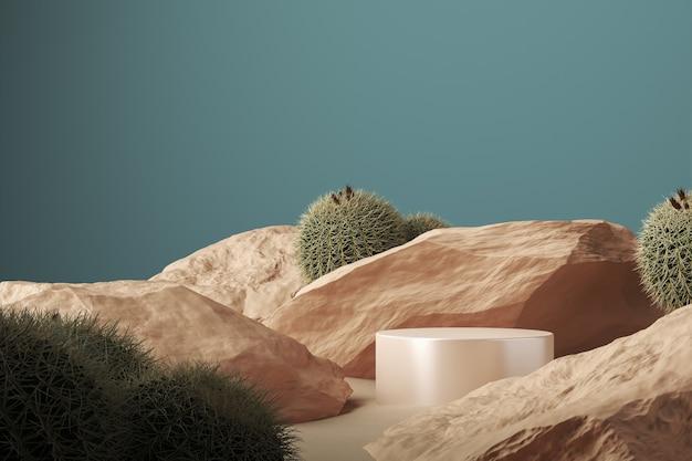 Beige glanzend cilindrisch platform op rotsen, cactus- en zandscène