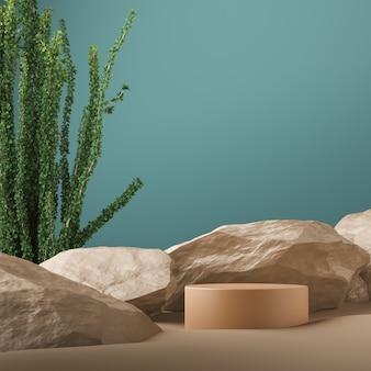 Beige glanzend cilindrisch platform op rotsen en tropisch tafereel