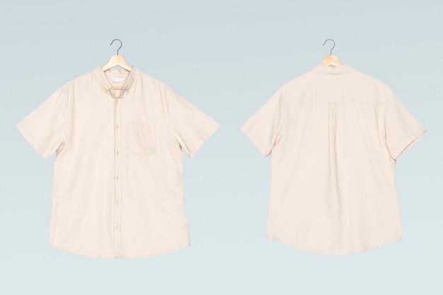 Beige herenoverhemd met korte mouwen, casual kleding