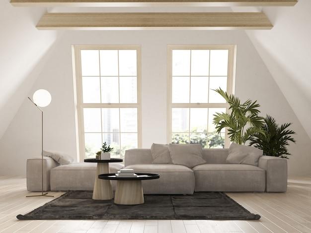 Beige kleur zolder interieur kamer 3 d illustratie