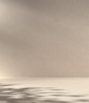 Beige minimale abstracte betonnen muur achtergrond met zonnescherm boom schaduw 3d render