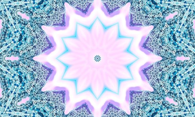 Beige naadloze kantpatroon met geometrie bloemen op pastel roze achtergrond