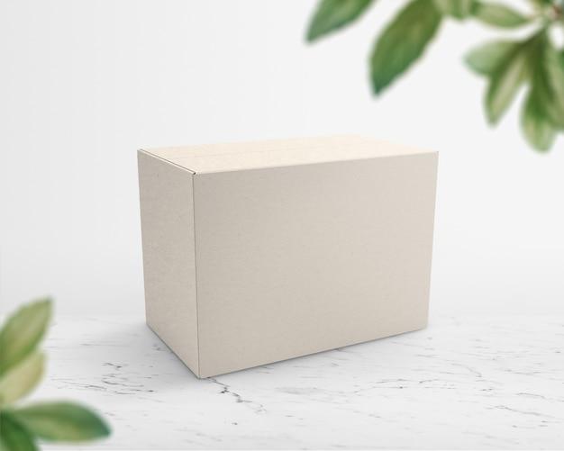 Beige papieren doosverpakking met ontwerpruimte