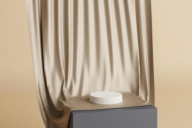 Beige pastel cilinderstandaard of sokkel voor producten met gouden stoffen gordijnen. 3d-weergave in minimale stijl.