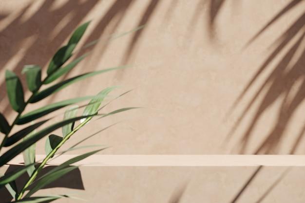 Beige platform en vervaging tropische planten voorgrond, zonnescherm schaduw op de muur. abstracte achtergrond voor productpresentatie of advertenties. 3d-rendering