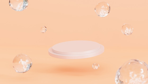 Beige podium of voetstuk voor producten of reclame op pastel perzik gekleurde achtergrond, 3d render