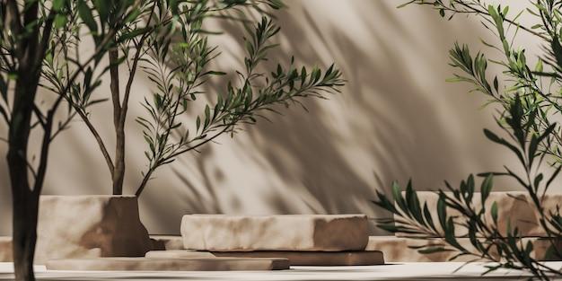 Beige stenen plaat voor productpresentatie op mockup-plantenscène zonnescherm en boomschaduwen op muur
