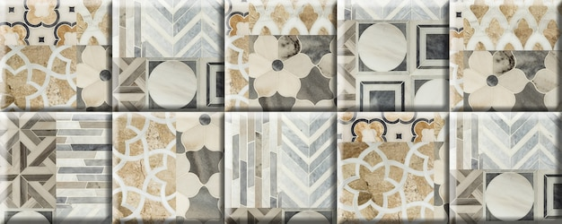 Beige tegels met een patroon en textuur van natuurlijk marmer. element voor wanddecoratie. naadloze achtergrond structuur