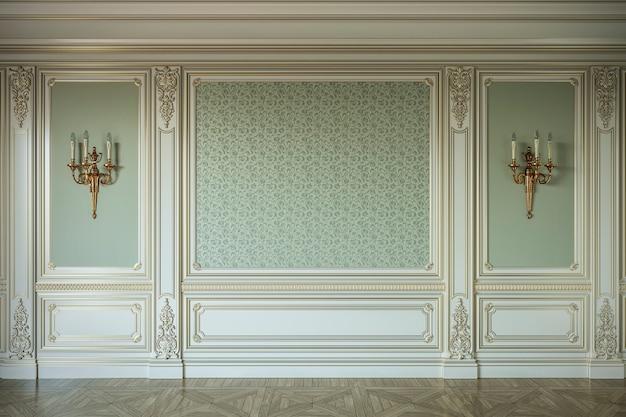 Beige wandpanelen in klassieke stijl met vergulding. 3d-rendering