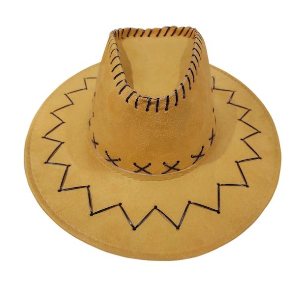 Beige westerse cowboyhoed geïsoleerd op een witte achtergrond.