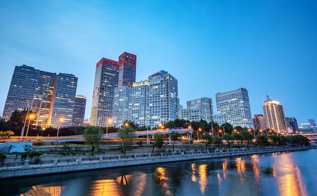 Beijing, china cbd skyline van de stad.