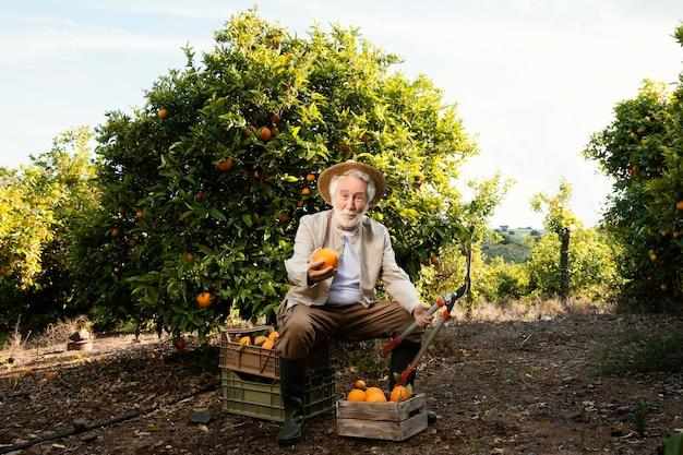 Bejaarde met verse sinaasappelen