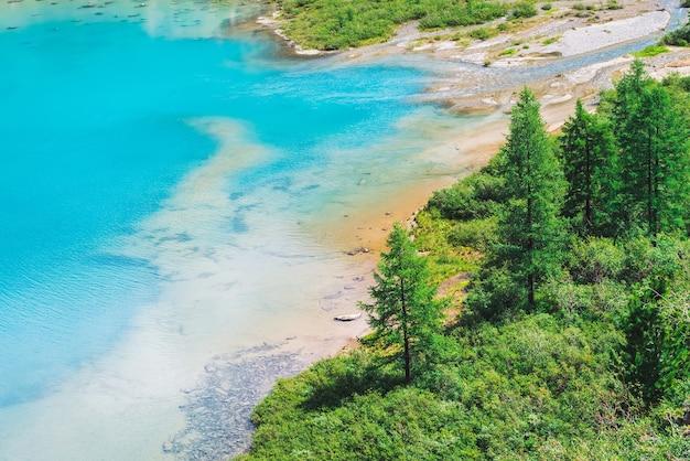 Bekijk hierboven op verbazingwekkende levendige azuurblauwe bergmeer in de vallei. naaldbomen in zonlicht. rijke vegetatie van hooglanden