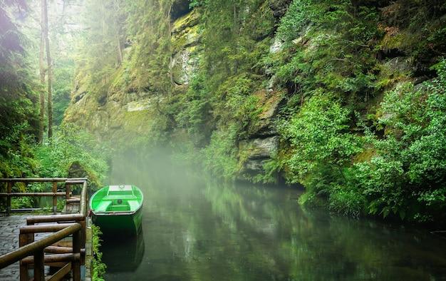 Bekijk kloven in tsjechisch zwitserland aan de rivier de kamenice, district decin, bohemen, tsjechië. edmund's gorge, boheems zwitserland.